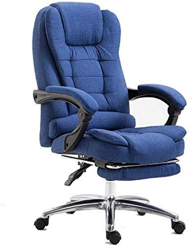 TGFVGHB Silla de oficina, silla de escritorio, silla de oficina, silla reclinable de tela, silla de juego, suave y cómoda (color: azul oscuro)