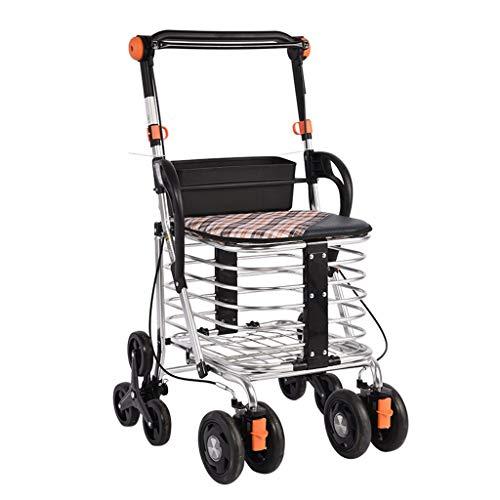 Einkaufstrolleys Einkaufswagen Old Man Wagen Beweglicher Wanderer Faltbarer Rollstuhl Gebäude-Roller Klettern Home Einkaufswagen Mit Sitz Geschenk Kann 80 Kg Tragen