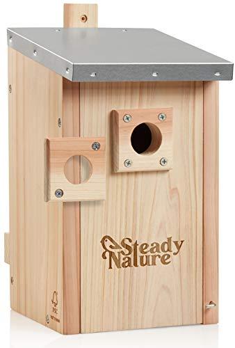 Steady Nature Nistkasten für Blaumeisen und Kohlmeisen - wetterfestes Dach verzinkt - Einflugloch wechselbar 28mm und 32mm - Meisenkasten - Holz unbehandelt