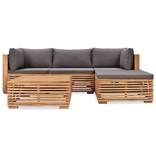 vidaXL Teak Massiv Gartenmöbel 5-TLG. mit Auflagen Sofa Lounge Möbel Sitzgarnitur Gartengarnitur Sitzgruppe Gartenset Gartensofa Ecksofa Mittelsofa