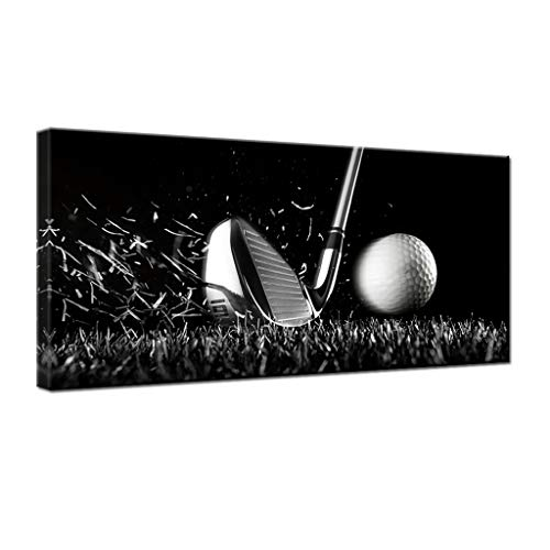 gold mi Black and White Golf Course Poster Wall Art Sport Canvas Painting Large Home Decorations Picture for Gym Living Room Wall Decor Framed(20x40inch)