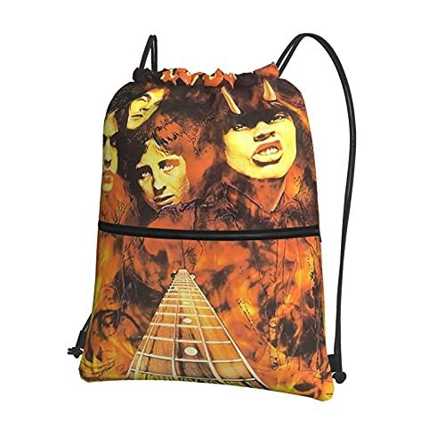Ac-D-C - Bolsa con cordón y bolsillo con cremallera para gimnasio, mochila para niños y niñas, bolsas de polietileno para hombres y mujeres