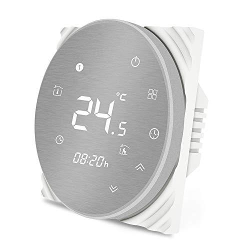 MOES Termostato inteligente Controlador de temperatura WiFi Panel cepillado de metal Aplicación Smart Life Control remoto para calefacción de piso de agua 5A Funciona con Alexa