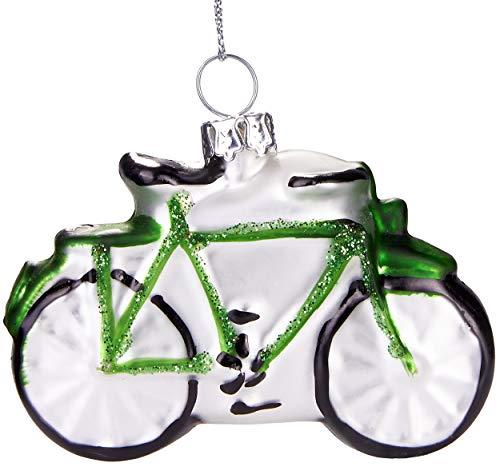 Brubaker Fahrrad Grün - Handbemalte Weihnachtskugel aus Glas - Mundgeblasener Christbaumschmuck Figuren lustig Deko Anhänger Baumkugel - 7 cm