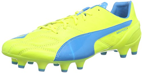Puma Evospeed 1.4 Lth Fg, Scarpe da calcio Uomo, Giallo (safety yellow-atomic blue-white 03), 44 EU (9.5 UK)