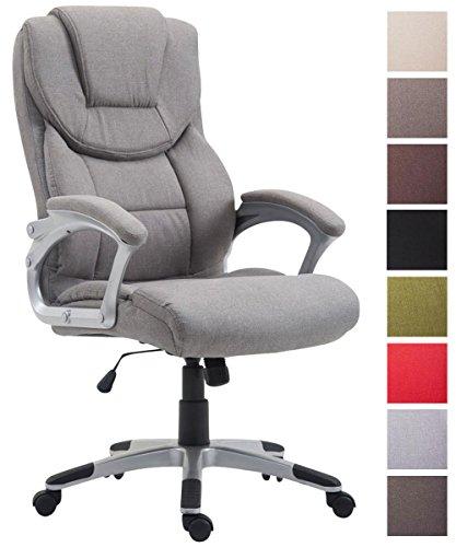 CLP Bürostuhl XL Texas V2, Stoffbezug, Chefsessel mit Wippmechanismus, max. Belastbarkeit 180 kg, Drehstuhl mit Armlehnen, hochwertige Polsterung Grau