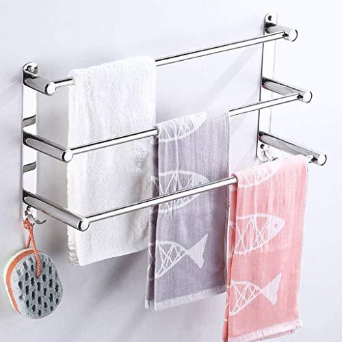 SH Toallero de pared de acero inoxidable con múltiples capas para toallas de cocina, baño, minimalista, 40 cm