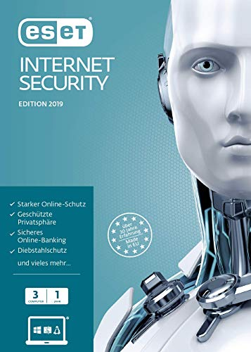 ESET Internet Security 2019 | Für 3 User | 1 Jahr Virenschutz | Für Windows (10, 8, 7 und Vista)|Standard|3 Geräte|1 Jahr|PC|Download|Download