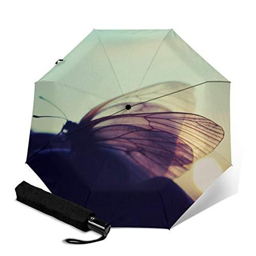 Mdsfe Automatischer kompakter Schutz DREI klappbare männliche und weibliche Schmetterlingssonnensonne einzigartiger Sonnenschirm - YSA1305