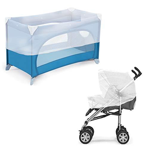 Ensemble moustiquaire universelle anti-moustiques pour poussette + berceau ou camping, réfléchissant, avec bords élastiques, lavable