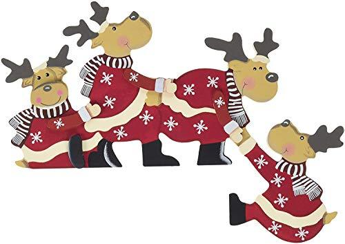 khevga Weihnachtsdeko Purzelnde Elche für Türrahmen-Deko aus Holz (Purzelnde Elche)