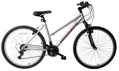 Ammaco Reflection Womens Bike 26' Wheel Lightweight Alloy Front Suspension 21 Speed Step Through Mountain Bike 16' Frame Silver Purple