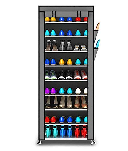 Coroid 9 Layer Multipurpose Portable Folding Shoes Rack Multi-Purpose Shoe Storage Organizer Cabinet Tower with Iron and Nonwoven Fabric with Zippered Dustproof Cover (Ligth_Grey)