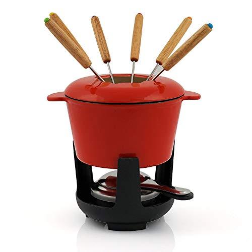 BBQ-Toro Set de Fondue de Hierro Fundido para 6 Personas Set de Fondue 13 Piezas con Quemador y Tenedor cantidad de llenado 1 litros de Queso de inducción de Chocolate (Rojo/Crema Emoliente)
