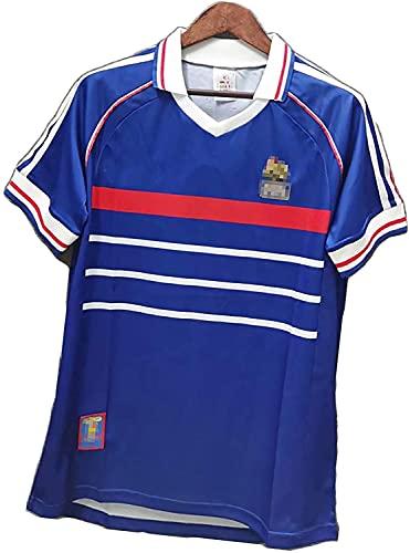Jersey Retro Masculino para Adultos 1998 Francia 10# Zidane 12# Henry Training Uniform T-Shirt, Sudadera de Secado rápido(Size:Medium,Color:Azul)