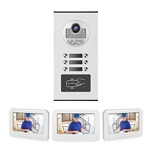 ASHATA Kit de Videoportero Timbre Intercomunicador,Manos Libres Sistema de Cámara de Vigilancia,Visión Nocturna por Infrarrojos,para Seguridad del Hogar(3 Familias)(Plug EU.)