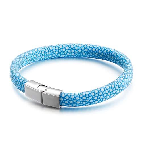 AnazoZ Pulsera Piel de Serpiente Pulsera para Hombre de Cuero Pulsera para Hombre de Cuero Pulsera Azul Claro