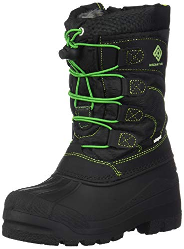 DREAM PAIRS Little Kid Knorth Black N.Green Isulated Fur Winter Waterproof Snow Boots Size 3 M US Little Kid