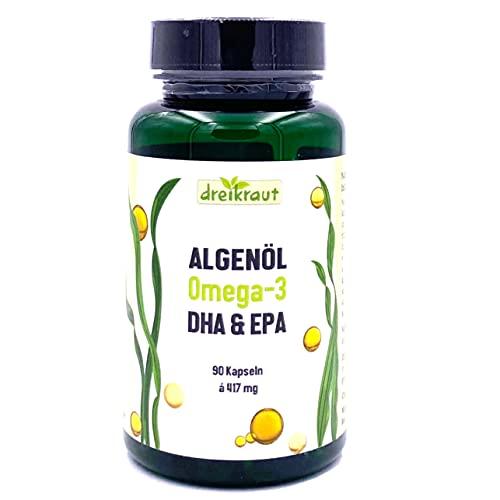 Algenöl dreikraut Omega-3, DHA & EPA, 90 Soft-Kapseln, Monatspackung, 1251mg pro Tag, Deutsche Herstellung, vegan