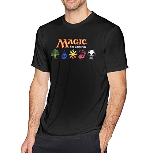 SOTTK Camisetas y Tops Hombre Polos y Camisas, O-Neck Fashion Magic The Gathering Short Sleeve T-Shirt for Mens and Boys Black