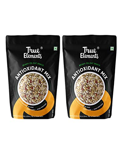 True Elements Antioxidant Mix Seeds - Roasted Sunflower, Pumpkin, Flax, Watermelon, Chia & Goji Berries, 250g (125g * 2), Healthy Snacks, Seeds for Eating