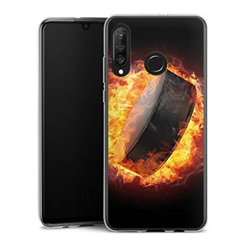 DeinDesign Silikon Hülle kompatibel mit Huawei P30 Lite Case transparent Handyhülle Eishockey Feuer