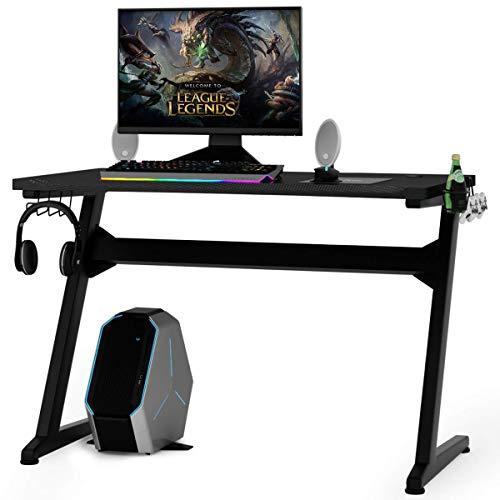 COSTWAY Mesa para Gaming Escritorio para Juegos Computadora Gamer con Alfombrilla para Ratón, 2 Ganchos,Portavasos y Soporte para Auriculares