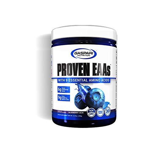 Gaspari Nutrition Proven EAAs Paquete de 1 x 390g Aminoácidos - BCAA con Minerales y Electrolitos (Blueberry Acai)