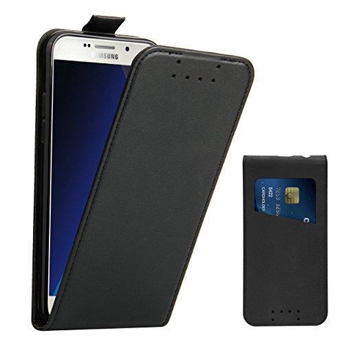 Supad Galaxy A5 2017 Hülle, Leder Tasche für Samsung Galaxy A5 2017 Handyhülle Flip Hülle Schutzhülle (Schwarz)