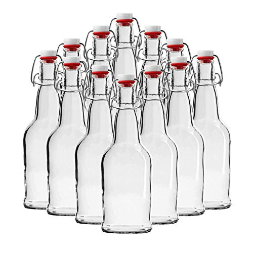 Chef's Star Clear Beer Swing Top Glass Bottles For Brewing Kombucha, Fermentation and Water Kefir With Airtight Flip Top Lids, Brush and Funnel, 16 oz, 12 Pack