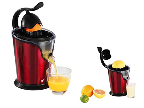 Exprimidor eléctrico de cítricos con pico de naranjas, exprimidor de 100 W (exprimidor, cono prensado, motor silencioso, doble boquilla, rojo)