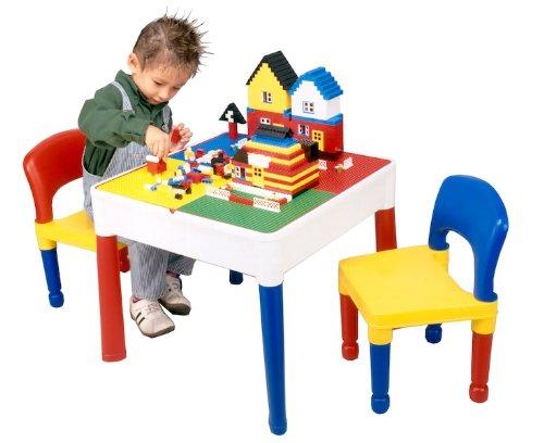 5-in-1 Activity Tafel en stoelen met schrijven top/lego/zand/water/opslag