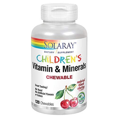 Solaray Childrens Vitamins & Minerals   Complete Multivitamin for Kids   Great Black Cherry Flavor (120 Chews, 60 Serv)