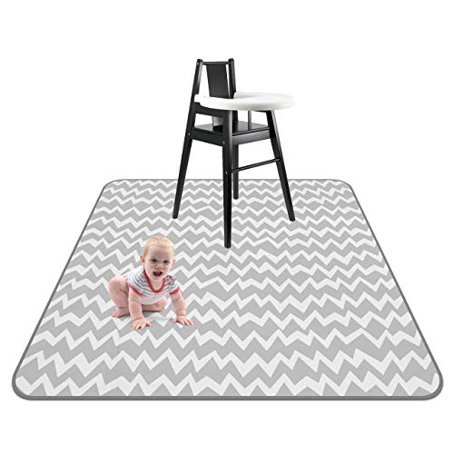 """Waterproof Baby Splat Mat for Under High Chair, Washable Splat Mat for Floor, Table, Art, Crafts, Playtime, Food Catcher Protect Floor from Mealtime Messes, High Chair Mat 42"""" Gray Chevron (1 Pack)"""