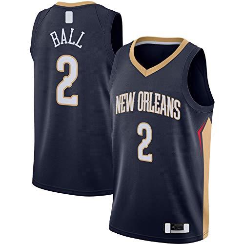 HFHDF Lonzo Sudadera de Baloncesto Jersey Nuevo Traning Jersey Orleans Sports Pelicans #2 Swingman Jersey Azul Marino - Icono Edition-S