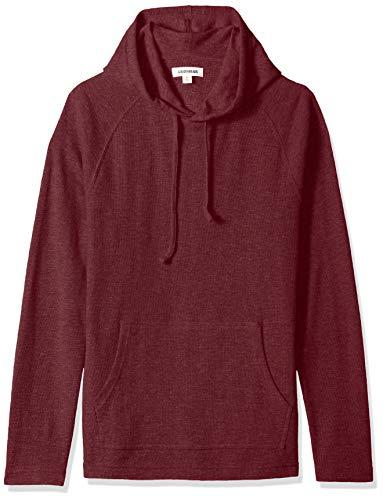 Marca Amazon - Goodthreads - Sudadera térmica flameada de manga larga con capucha para hombre, Morado (burgundy), L