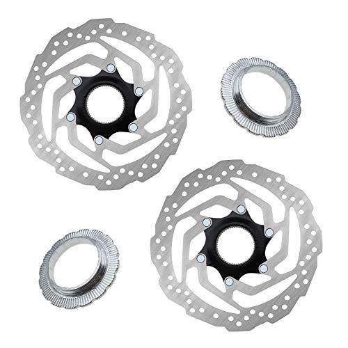 2 rotores de freno de disco Centerlock para bicicleta con pernos de anillo de bloqueo, montaje 6 agujeros para la mayoría de bicicletas de montaña