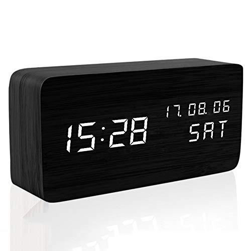 Bdrcnz Reloj Madera Led Light Mini Cube Digital Analógico