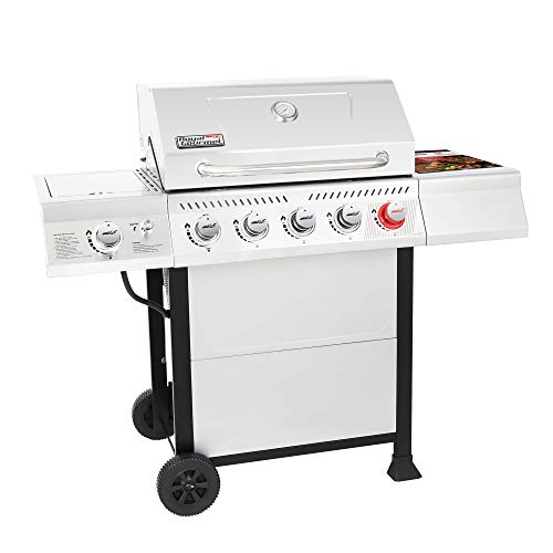 Royal Gourmet GA5401T 5-Burner BBQ Liquid Propane Gas Grill with Sear Burner and Side Burner, Stainless Steel 64,000 BTU Patio Garden Picnic Backyard Barbecue Grill, Silver