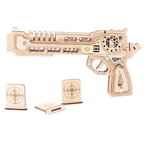 GUXINHOME Kit de Pistola de Juguete de Madera, 3D Pistola de Juguete Modelo de Madera con la Pistola láser de Banda de Goma y el Tiro al Blanco Corte Juguete Educativo