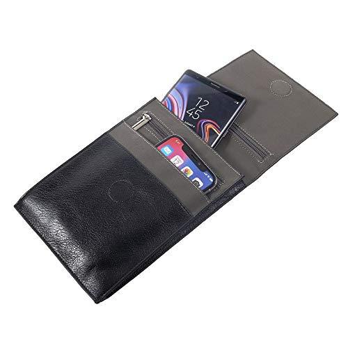 DFVmobile - Etui Kunstleder Tasche Schultertasche für Tablet und Smartphone mit Magnetverschluss und Reißverschlüssen für ELEPHONE S3 - Schwarz