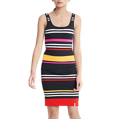 Superdry Miami Bodycon Dress Vestido, Azul (Navy Stripe Jkc), M (Talla del Fabricante:12) para Mujer
