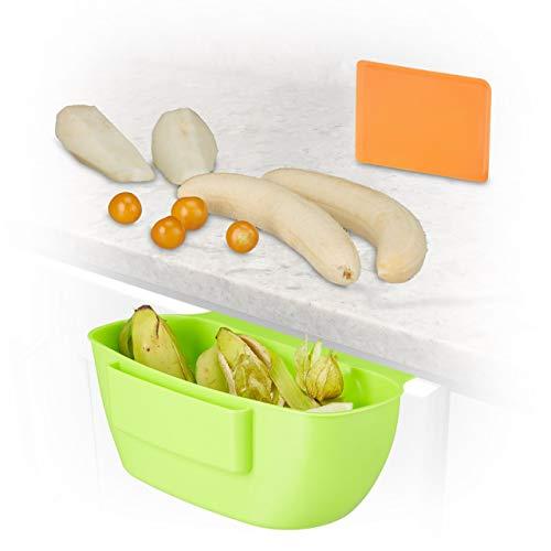 Relaxdays Auffangschale für Küchenabfälle, Abfallbehälter mit Spachtel, Abfallsammler 2Liter, HxBxT: 10x27,5x16 cm, grün