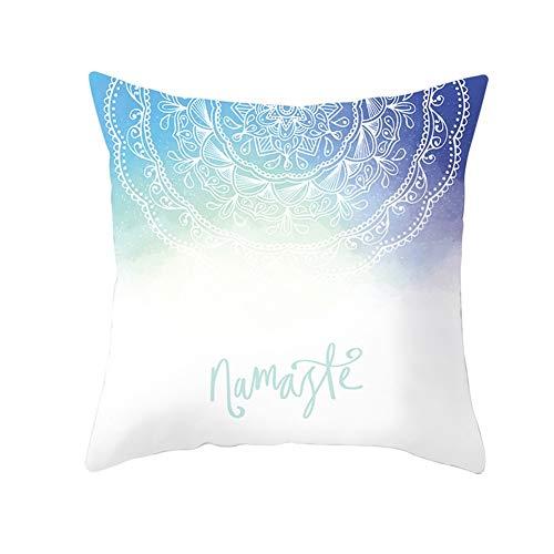 Juego De 2 Bedsure Fundas Cojines Decorativas Patrón Simple Azul Blan