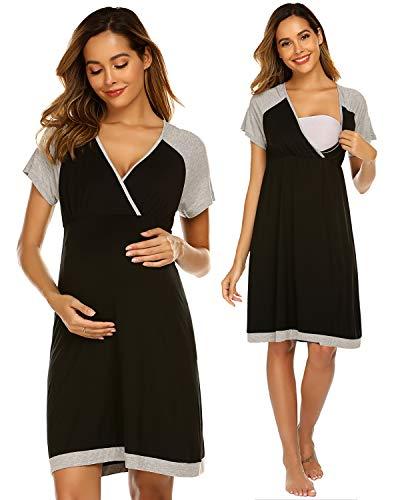 Ekouaer Maternity Gown Womens Short Sleeve Nursing Nightwear Colorblock Hospital Nightdress (Black S)