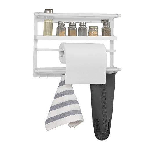 SoBuy® FRG247-W Regal für Kühlschrank mit Magnetleiste, magnetisches Küchenreagl, Hängeregal weiß, BHT ca:47x34x8 cm