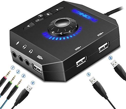 Externe USB Stereo Soundkarte mit verstellbarem Volume, PHOINIKAS USB Hubs mit 7.1 Surround Sound Audio Adapter, mit 3.5 mm Kopfhörer und Mikrofon Jack, für Windows, Mac, PC, Laptop, PS4