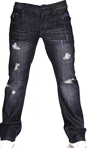 2Chilly heren jeans Men Twilight Destroyed darkblue Straight Cut donkerblauw (W42/L36)