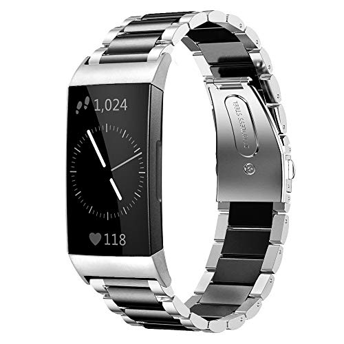 Shangpule Compatible for Fitbit Charge 3 / Fitbit Charge 4 / Fitbit Charge 3 SE Bands, Stainless Steel Metal Replacement Strap Bracelet Wrist Band Large Small (Silver + Black)
