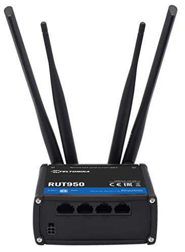 Teltonika RUT950 Black cellular wireless network equipment - Cellular Wireless Network Equipment (300 Mbit s, 10,100 Mbit s, 850,900,1900,2100 MHz, 850,900,1800,1900 MHz, 64-bit WEP,128-bit WEP,WPA,WPA2, Black)